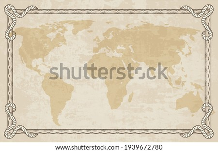 Old world map with frame. Retro design banner. Decorative antique museum picture. Element for marine theme and heraldry. Vector paper texture Сток-фото ©