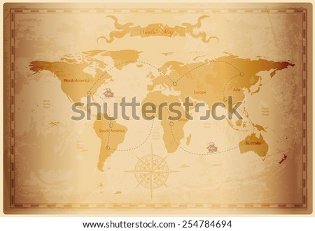 old world map with vintage