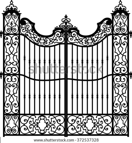 old wrought iron gate full of