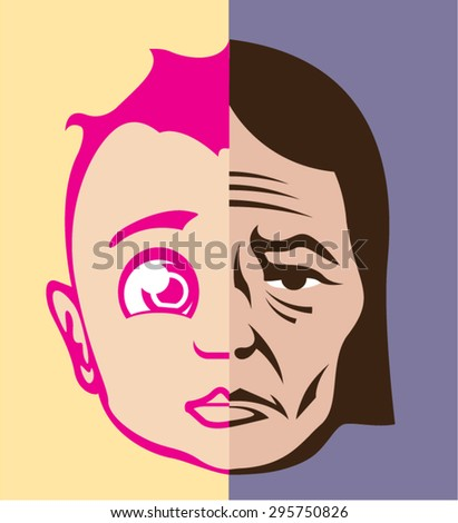 old young face concept vector