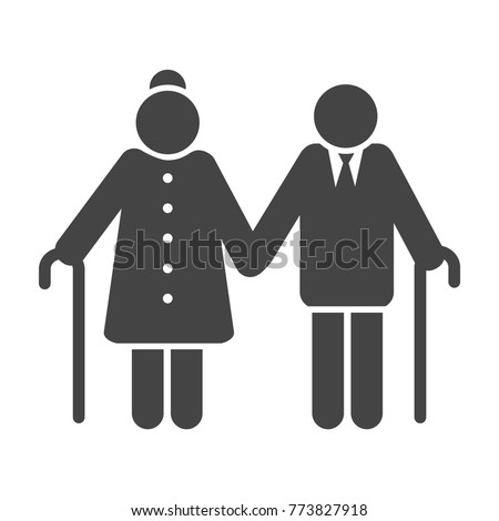 Older couple icon. Pension senior people symbol, elderly or old-aged couple vector illustration