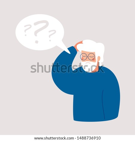 Older man has Alzheimer's disease and a question above him in the speech bubble. Loss of short-term memory, difficulty concentrating, problems planning and pondering things are symptoms of dementia.