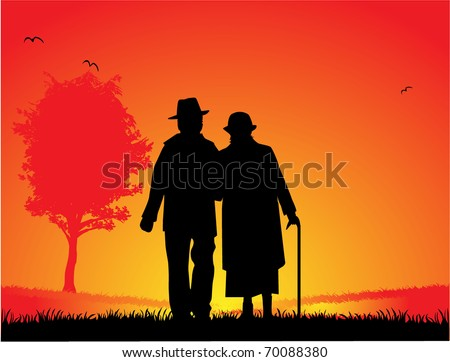 Older married couple - a walk in the park