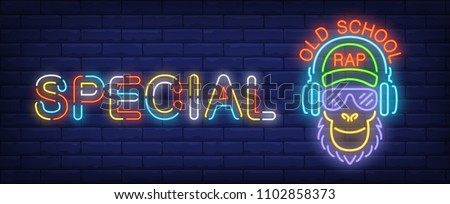 Oldschool rap neon sign. Monkey in sunglasses listening to music in headphones on brick wall. Vector illustration in neon style for special concert banner or rap battle