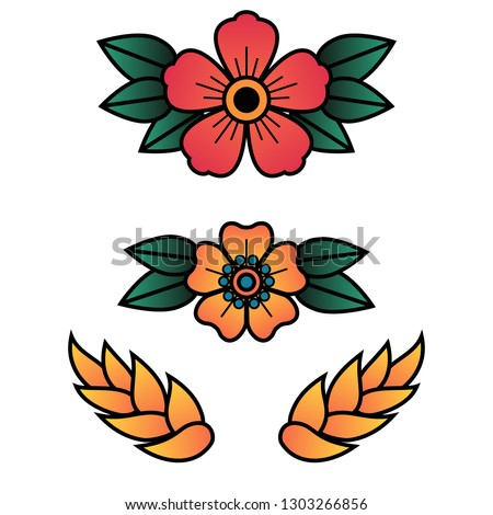 Oldschool Traditional Tattoo Vector Flowers with 5 Petals