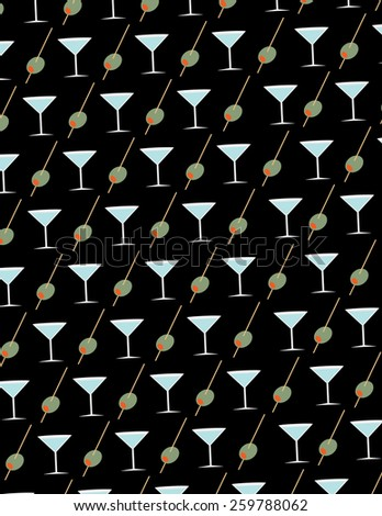 olive and martini glass pattern