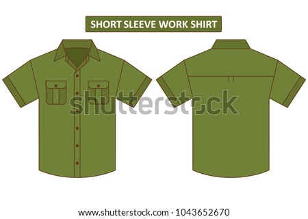 Olive army green short sleeve work shirt with two chest pocket template set back and front