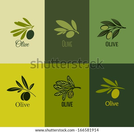 Olive branch Set of labels Vector illustration