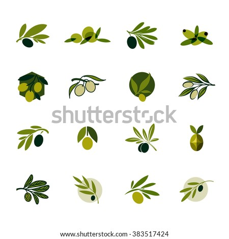 Olive branch. Set of vector logo design templates and icons
