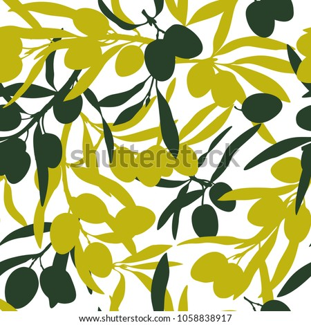 Olive branches, olive oil, flat illustrations, hand drawn silhouettes of olive tree fruits and bottles of olive oil. Seamless pattern, textile design.