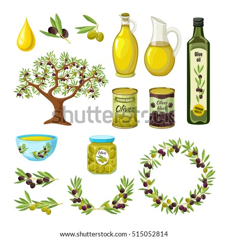 Olive colored isolated icon set with products and decorations from olives olive branch par example vector illustration