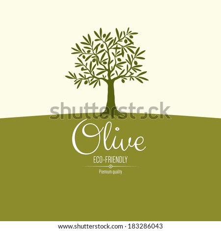 Olive label, logo design. Olive tree