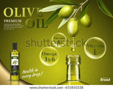 olive oil ad with some of its nutrients and olive fruit elements, 3d illustration