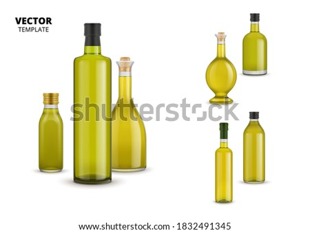 Olive oil bottle set. Isolated organic extra virgin olive oil glass bottle with label design icons. Healthy natural food collection. Vegetarian product ingredient vector illustration Stock photo ©