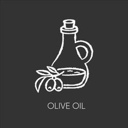 Olive oil chalk white icon on black background. Vegan component. Exfoliating and moisturizing effect for skincare. Traditional food seasoning. Extra virgin oil. Isolated vector chalkboard illustration