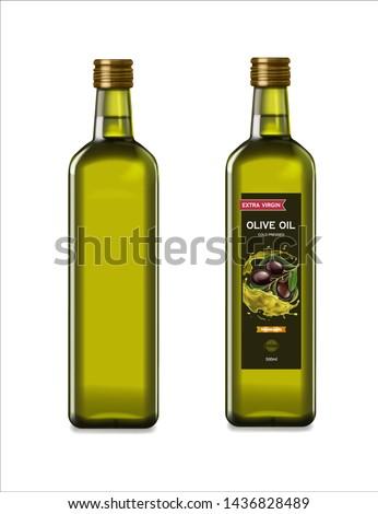 Olive oil glass bottles with olive oil splash. Vector realistic template design.