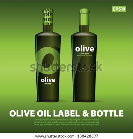 Olive oil label & bottle