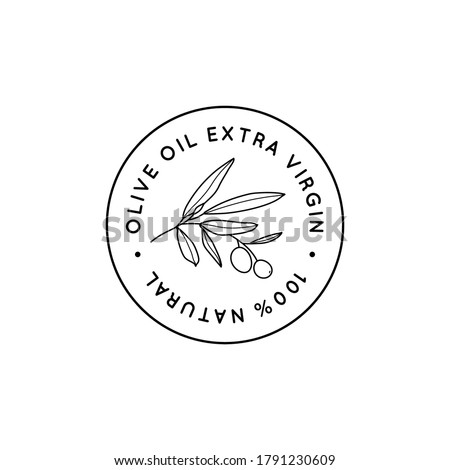 Olive Oil Line Logo. Outline Botanical Branch with leaves and with Fruit In a Modern Minimal Style. Vector Round Icon, Sticker, Stamp, Tag For oil, soap, cosmetics Stock photo ©