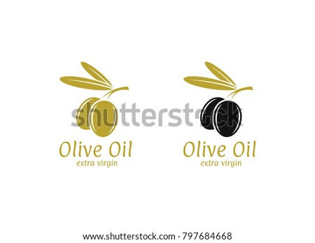 Olive oil. Logo. Vector illustration. Black and green olives on white background