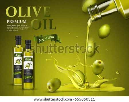 Olive oil pouring down from top in 3d illustration