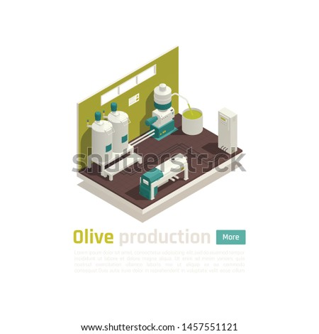 Olive oil production facility automated line isometric element with large capacity industrial centrifuge extraction method vector illustration