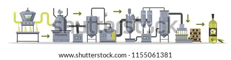 Olive oil production or manufacture process stages. Washing, pressing, filtrating and packaging bottles with organic oil. Isolated vector flat illustration stock photo