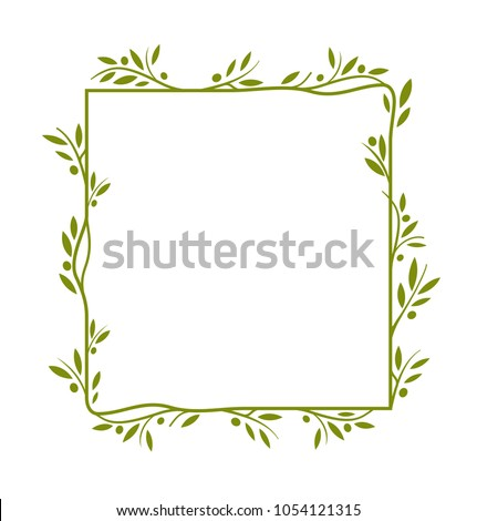 Olive tree border. Vector element. EPS10. #1054121315