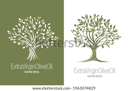 Olive Tree. Extra virgin olive oil symbol. Symbol of culture and Mediterranean food isolated on white background