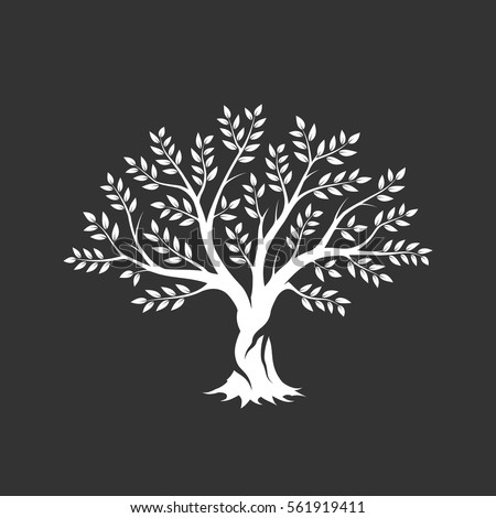 Olive tree silhouette icon isolated on dark background. Web infographic modern vector sign. Premium quality illustration logo design concept pictogram.