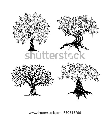 olive trees silhouette icon set