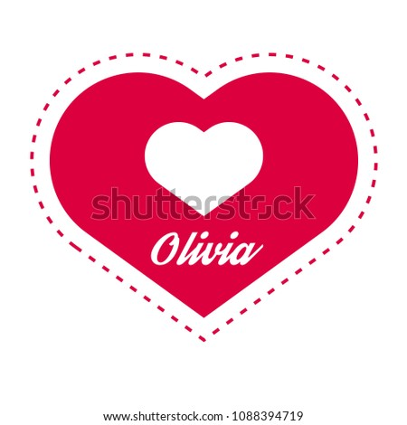 olivia woman name with heart