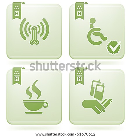 Olivine 2D Squared Icons Set: Hotel - stock vector