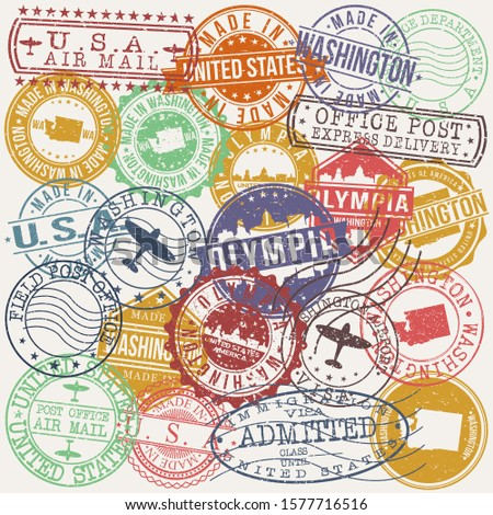 Olympia Washington Set of Stamps. Travel Stamp. Made In Product. Design Seals Old Style Insignia.