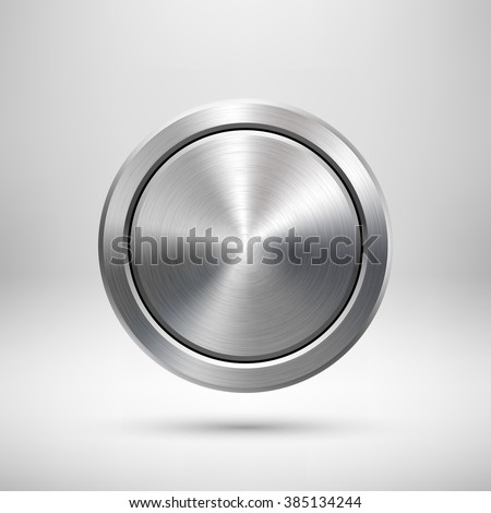 Olympic games silver medal template. Abstract circle geometric badge, technology perforated button with metal texture, chrome, steel for logo, design concepts, interfaces, apps. Vector illustration.