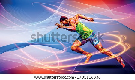 Olympic games, Tokyo 2020. 2021 Runner. vector illustration in triangles runner. Sport ruuner of triangle . Vector
