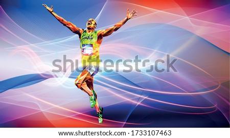 Olympic games, Tokyo 2020. 2021 Runner. vector illustration in triangles runner. Sport ruuner of triangle . Vector. winner. Runner n finish. Sport illustration in vector.