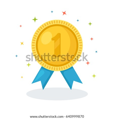 Olympic gold medal for first place. Trophy, winner award isolated on white background. Golden badge. Achievement, victory concept. Vector illustration. Flat style design
