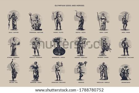 Olympic heroes. Greek and Roman gods. Zeus, Poseidon, Hades, Artemis, Ares, Venus. Foto d'archivio ©