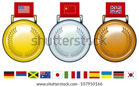 olympic medals with flags