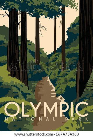 Olympic National Park Vector Illustration Background. Travel to State of Washington, on the Olympic Peninsula United States. Flat Cartoon Vector Illustration in Colored Style. ストックフォト ©