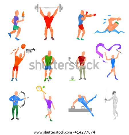 Olympic sports set. kinds of sports polygonal design. sports disciplines Stock photo ©