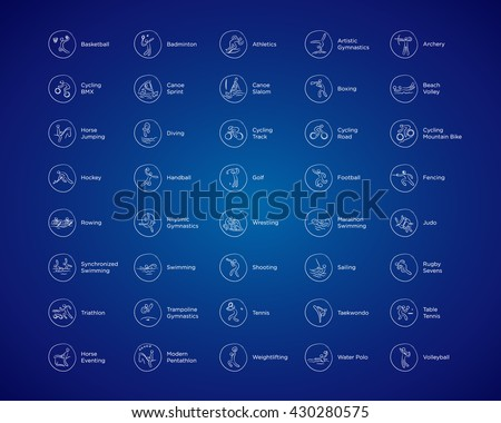 Olympic sports vector icons. Rio 2016 Olympic games in Brazil. Rio summer Olympic games icons vector illustration. Sport disciplines vector icons and illustrations. Sports categories symbols. Stock photo ©