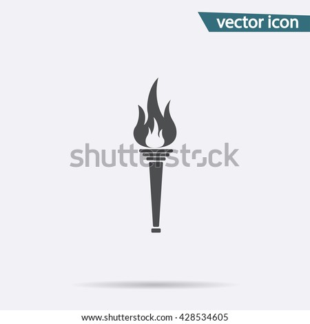 Olympic Torch flame icon isolated. Fire symbol in trendy flat style for website. Vector fire logo illustration.