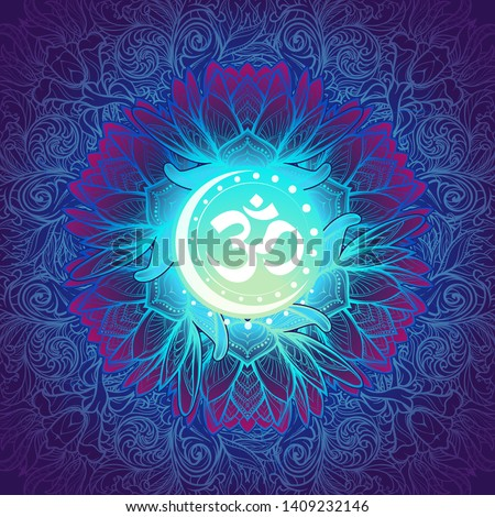 Om a Sacred mantra and a symbol of Hinduism. Decorative floral background. EPS10 vector illustration Stockfoto ©
