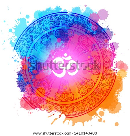 Om a Sacred mantra and a symbol of Hinduism. Rainbow colored watercolor textured background. EPS10 vector illustration Stockfoto ©