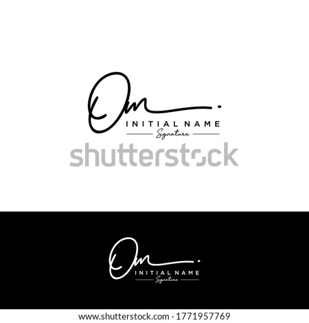 OM Initial letter handwriting and signature logo. Stockfoto ©