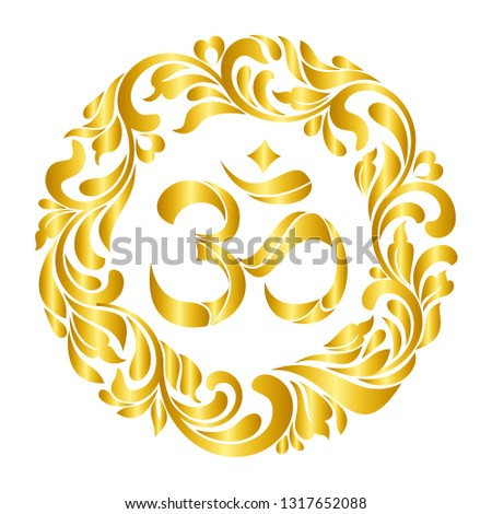 Om symbol Yoga or Pranava of floral wreaths – frame isolated on white background.