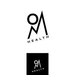 Om vector logo. Health lifestyle emblem. Mountain sign design element. Yoga school logotype
