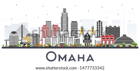 Omaha Nebraska City Skyline with Color Buildings Isolated on White. Vector Illustration. Business Travel and Tourism Concept with Historic Architecture. Omaha USA Cityscape with Landmarks.