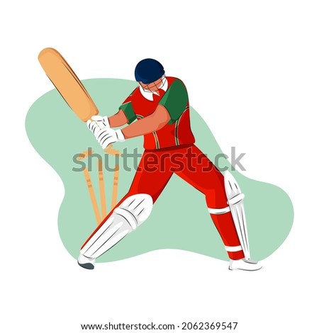 Oman Cricket Batter Losing His Wicket On Green And White Background.